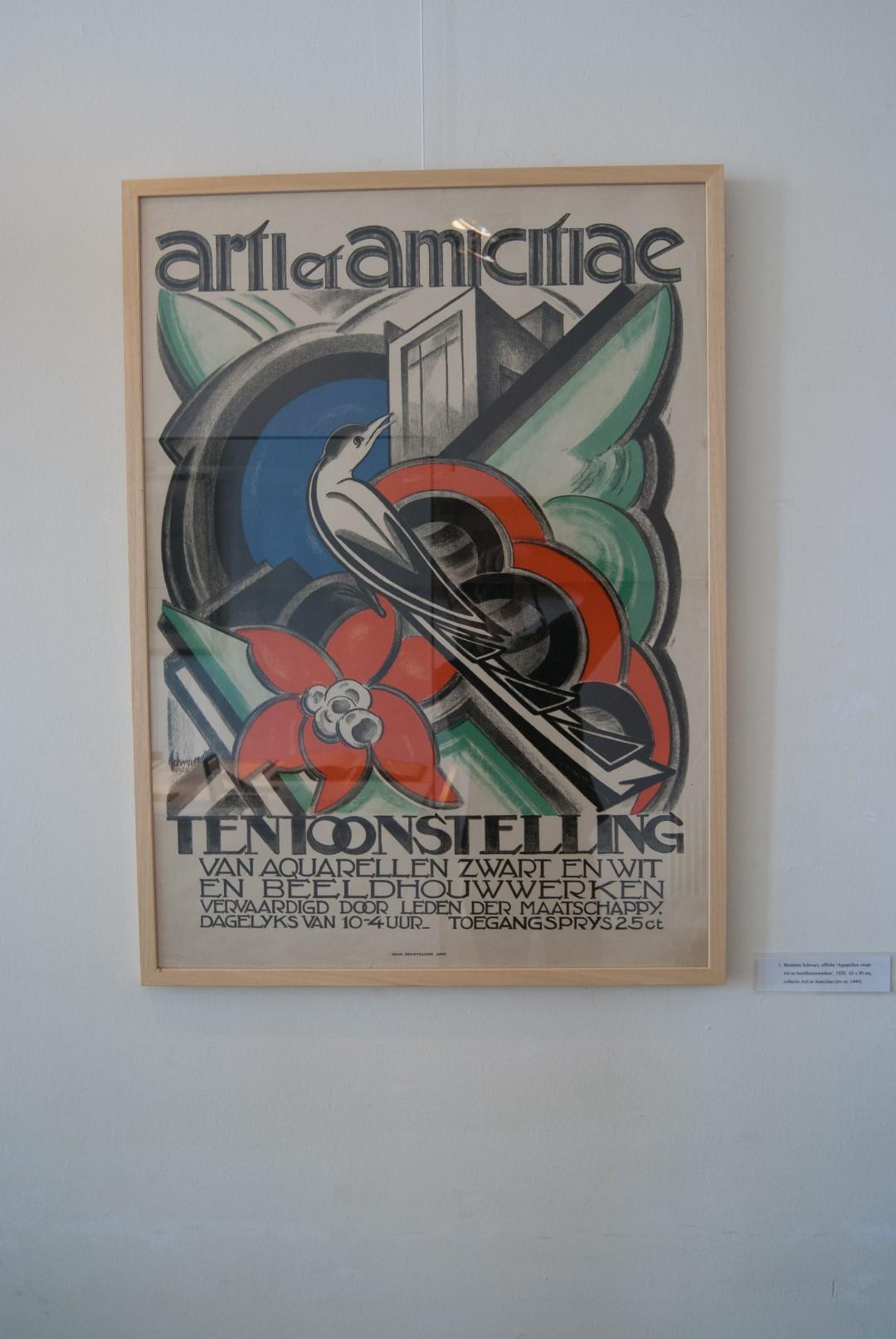 [1]: Mommie Schwarz, Affiche Aquarellen zwart wit en beeldhouwwerken, 1928